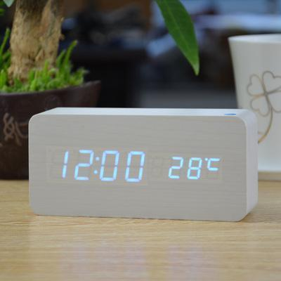 Neat Entropy white blue Home Wooden Alarm Clock