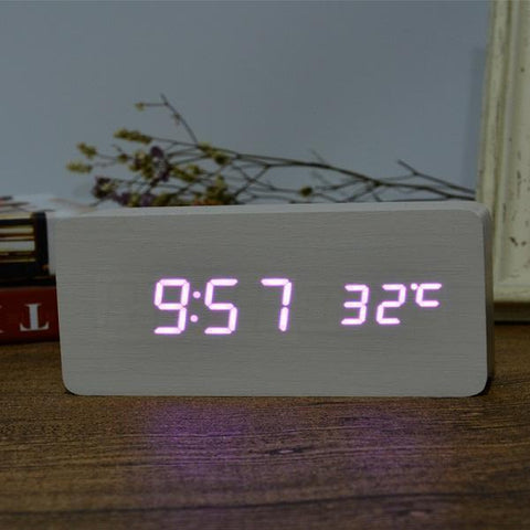 Neat Entropy white purple Home Wooden Alarm Clock