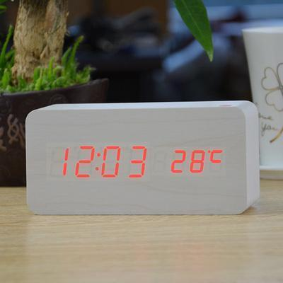 Neat Entropy white red Home Wooden Alarm Clock