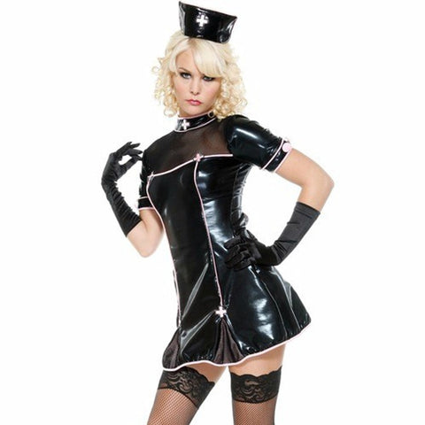 Image of Women Leather PVC Nurse Dress Costume Night Party Clubwear