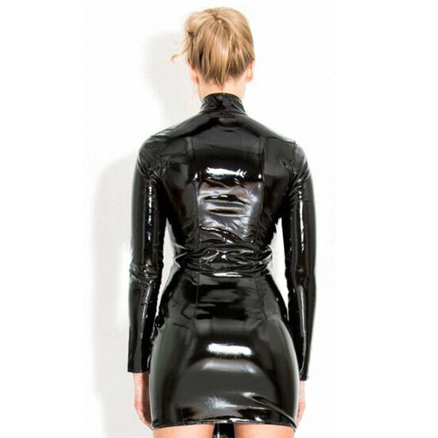 Image of Women Long Sleeves Zip Buckle Leather PVC Mini Dress
