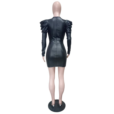 Image of Long Sleeve Faux Leather Mini Dress Back Zipper Bodycon