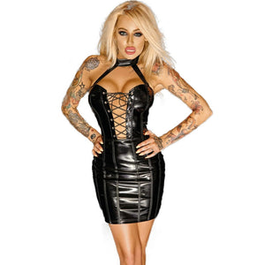Leather Zipper In Back Hollow Out Halter Off Shoulder Bodycon Mini Dress