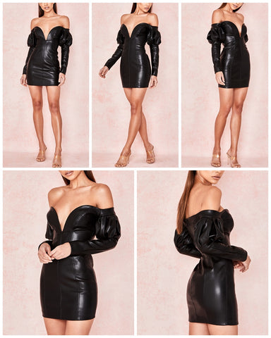 Image of Off Shoulder Black Leather Sexy Mini Dress Night Club Wear