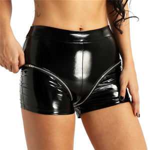 Leather Shorts Women Punk Double Zipper Slim Mini Shorts