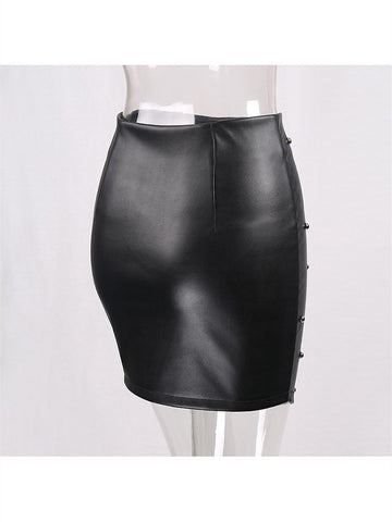 Leather Retro Rivet Black High Waist Beading Skirt 2019