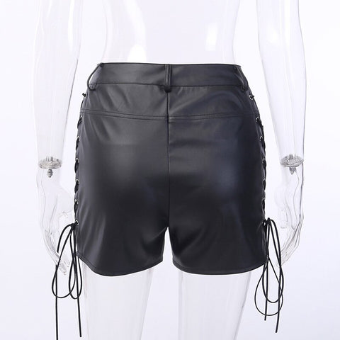 Women Zipper Cross Strap Slim High Waist Leather Shorts