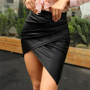 Leather Skirt Slim High Waist Mini Skirt