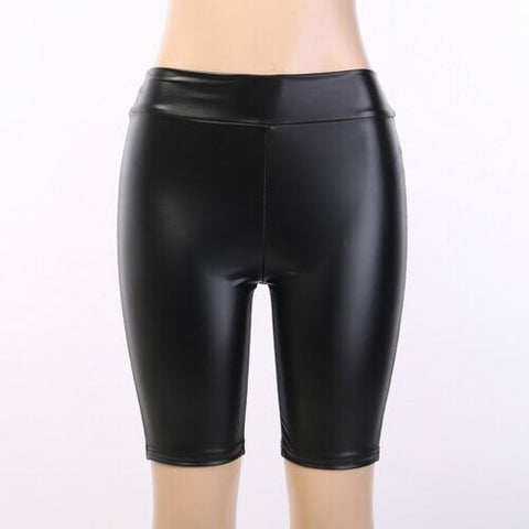 High-waist Black Bodycon Slim Leather Shiny Shorts