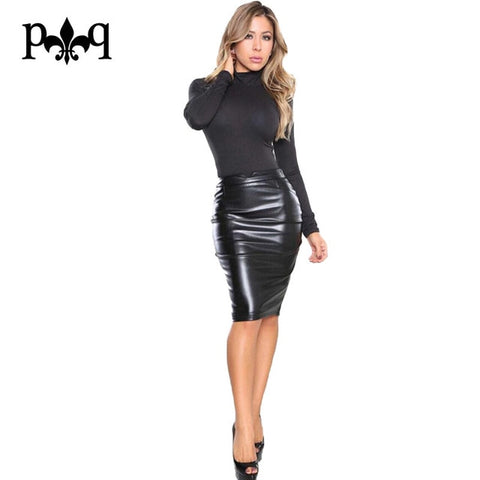 Leather Skirt Casual Office Work Wear Bodycon Pencil Skirt
