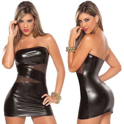 Sexy Patent Leather Bodycon Strapless Lure Clubwear Party Stripper Mini Dress