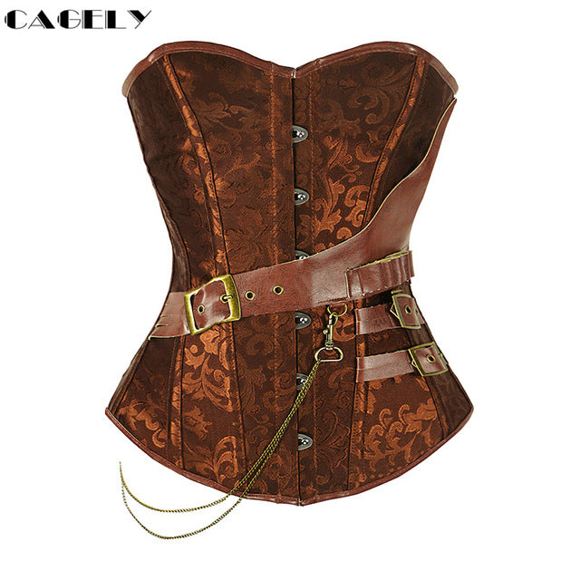 Steampunk Corset with Chain Buckles Retro Cosplay Fancy Black Lacing-up Basque Corset