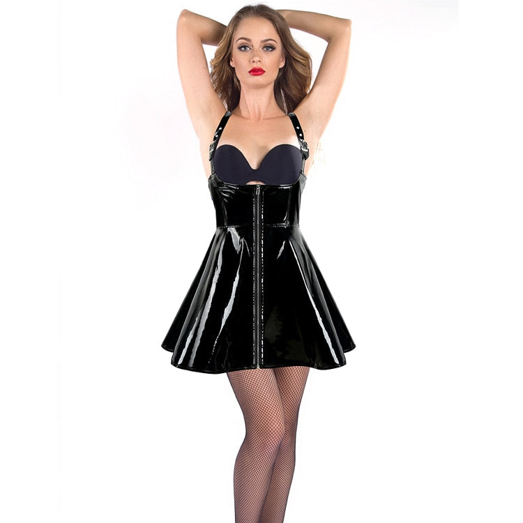 High Quality Leather Wet Look Bodycon Mini Dress Pole Dance Costume