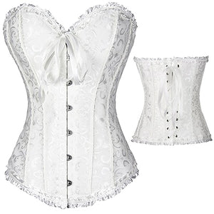 Leather Gothic Full Steel Boned Overbust White Corset