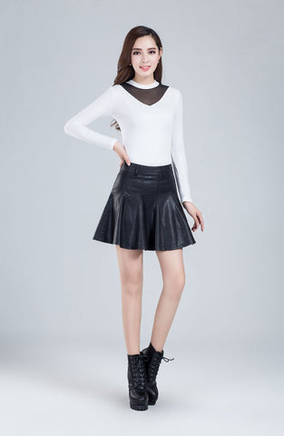 Half Skirt Word Pleated PU leather Skirt