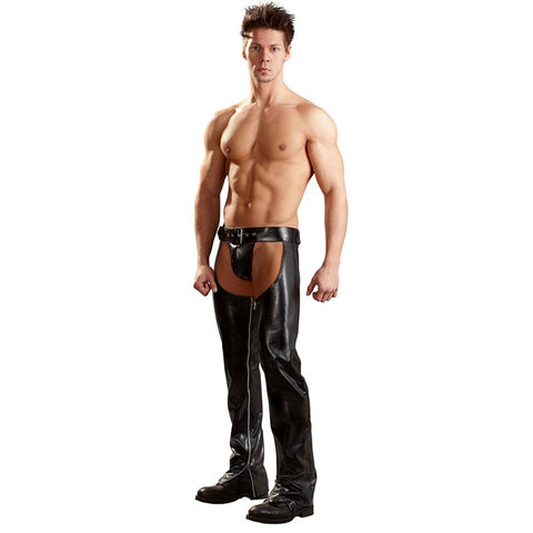 Image of Unisex Cowhide Leather Chap Biker Buckled Front Assless