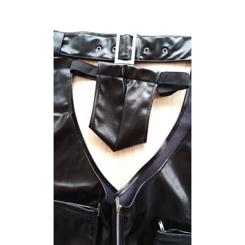 Unisex Cowhide Leather Chap Biker Buckled Front Assless