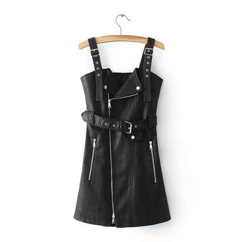 Leather Mini Dress with lace zip front