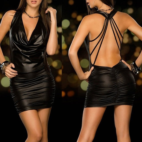 Image of Women Sexy Wet Look Backless Bandage Faux Leather Bodycon Dress