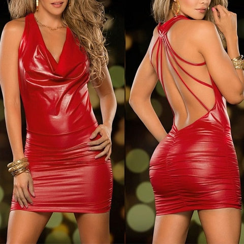 Women Sexy Wet Look Backless Bandage Faux Leather Bodycon Dress
