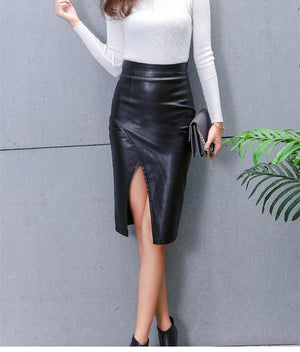 Women Midi Skirt PU Leather Black High Pencil Skirt
