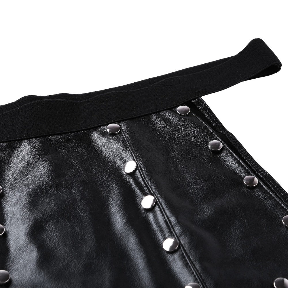 Soft 6 Panel Faux Leather Low Rise Metal Studded Gladiator Kilt