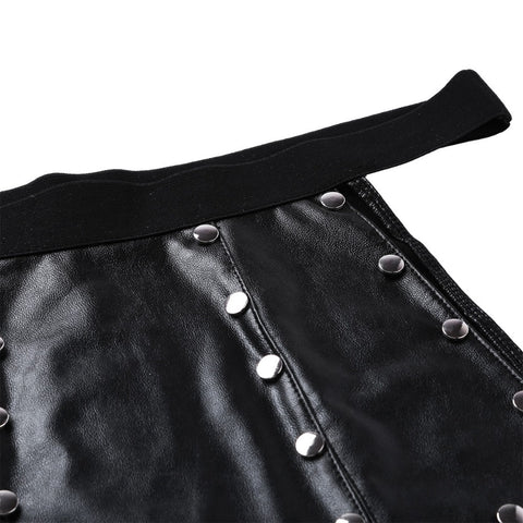 Image of Soft 6 Panel Faux Leather Low Rise Metal Studded Gladiator Kilt