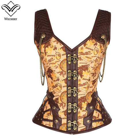 Steampunk Corset Gothic Leather Corset Sexy Steel Straitjacket Bodice Waste Trainer