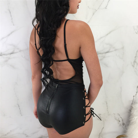 Side Lace Up Leather Shorts Hollow Out Clubwear
