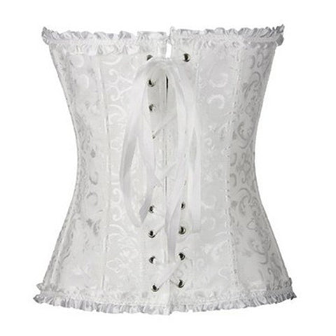 Image of Leather Gothic Full Steel Boned Overbust White Corset