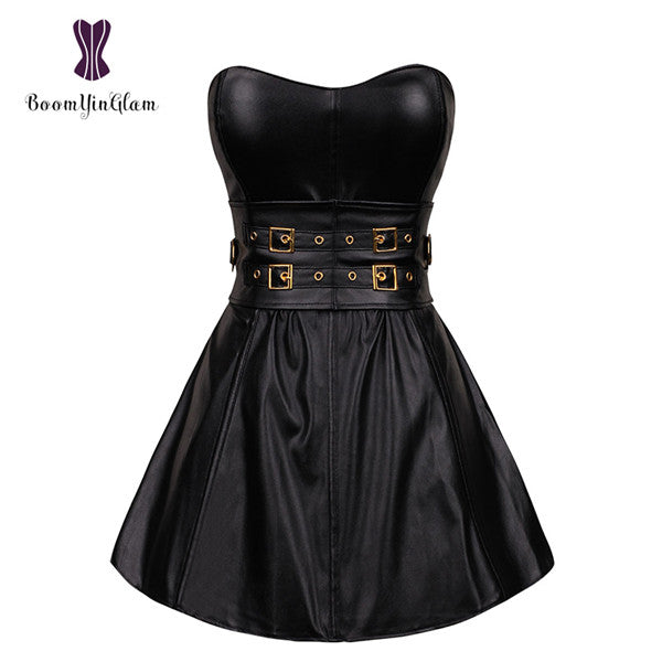 Black Gothic Punk Women's Long Torso Boned Corset Bustier Leather Clubwear Dress