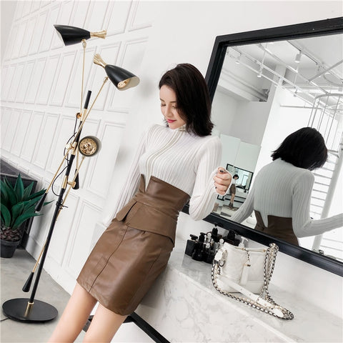 2019 Women PU Leather Skirt Pencil Patchwork Mini Skirt