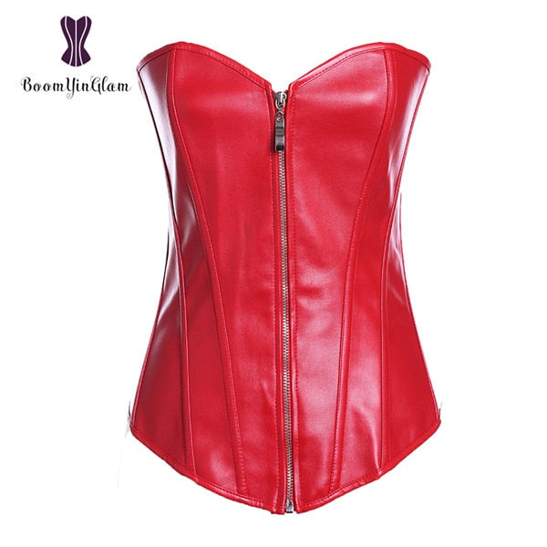 Gothic Style Faux Leather Corset Bustier With Zip
