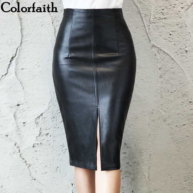 Leather Midi Skirt Hip Front or Back Slit Pencil Skirt