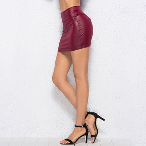 Women PU Leather Skirt Red High Waist Slim Pencil Skirt Clubwear