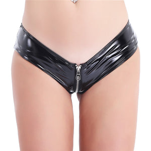 Women Open Crotch Fetish Latex Mini Shorts Zipper Open Crotch