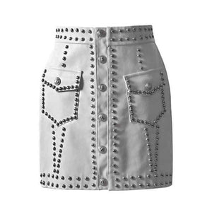 Leather High Waist Mini Skirt For Women Punk Style 2019