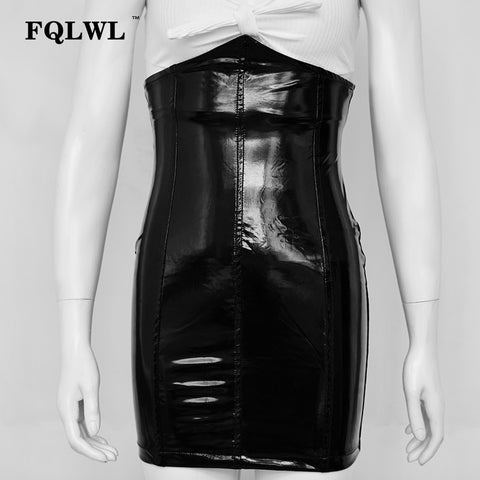 Leather Skirt Zipper Black/High Waisted/Pencil Skirt