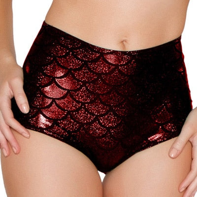 High Waist Candy Color Patent Leather Shorts Clubwear
