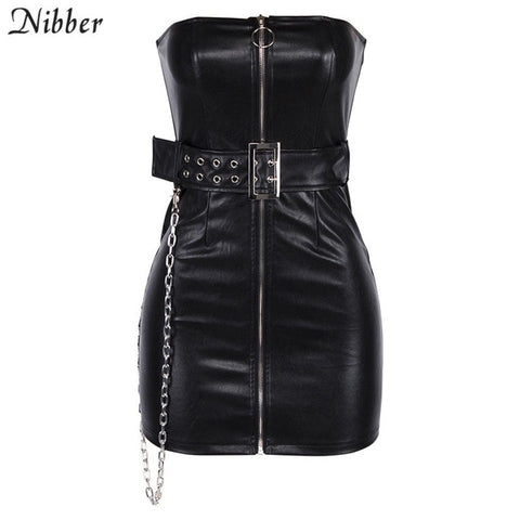 Image of Goth Style Black PU leather Zipper Sleeveless Mini Dress