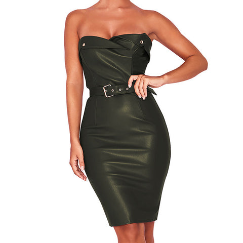 Image of Leather Night Club Mini Dress Sashes Sheath Strapless