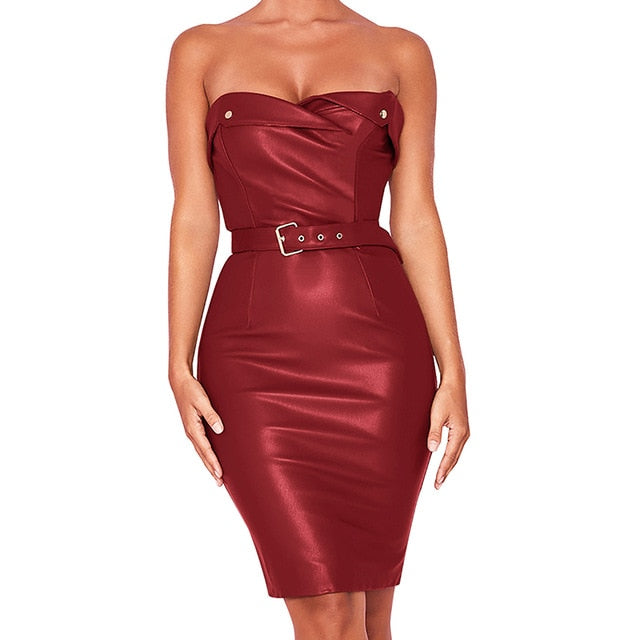 Leather Night Club Mini Dress Sashes Sheath Strapless