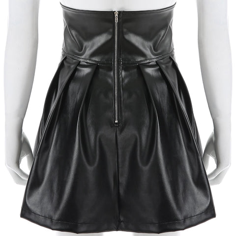 Women's Skirt Gothic Style Leather Black Mini Pleated Skirt 2019