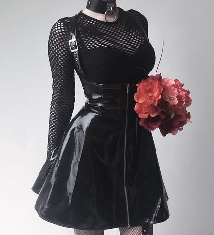 Leather Vintage Zipper Pleated Slim Gothic Skirt