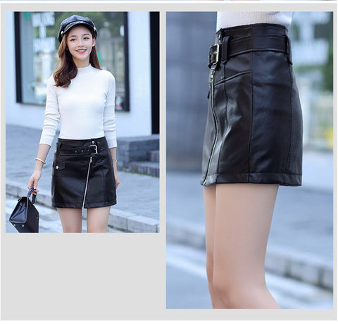 New Slim High Waist Women Pu Leather A-line Short Skirt