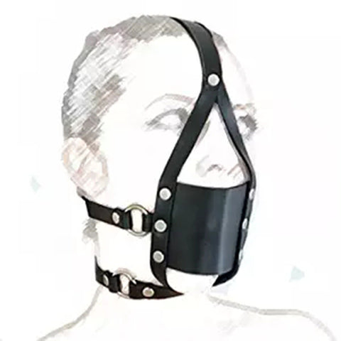 Image of Leather Head Harness Silicone Open Mouth Ball Gag with Mask