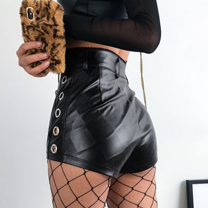 Skinny High Waist Pu Faux Leather Shorts Women