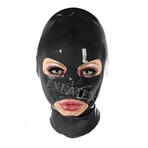 Image of Latex Hood Unisex Bdsm Mask Fetish Bondage with Eye Holes