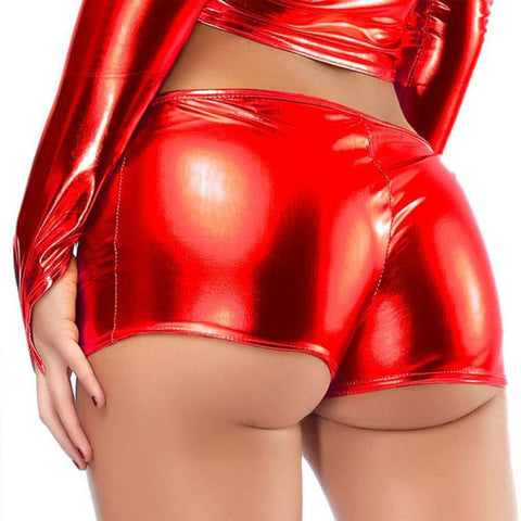 Women Shiny Leather shorts Micro Body Shorts