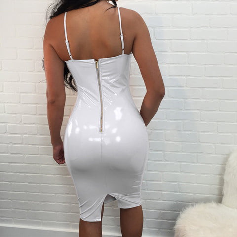 Image of Women Mini Vinyl Dress Leather Bodycon Sexy Party Dress